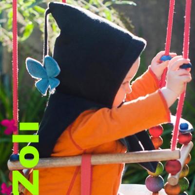 capuchon-bebe-noir-turquoise