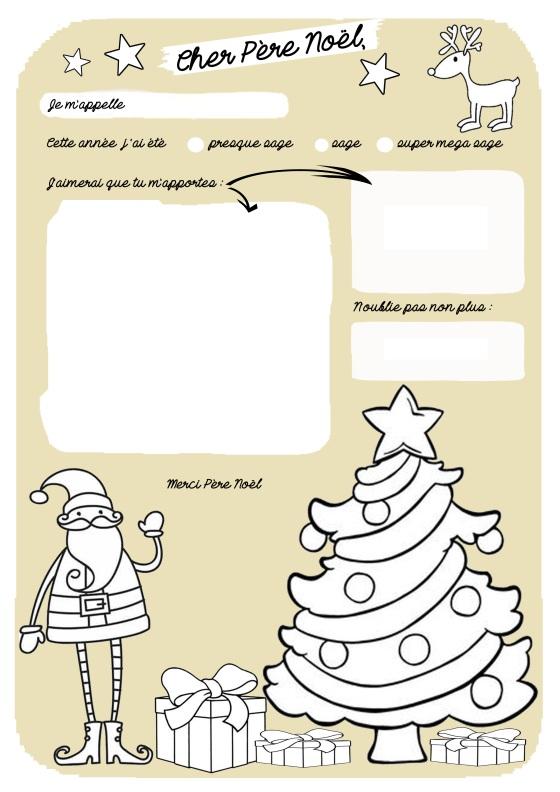 Lettre au Père Noël à colorier version doré